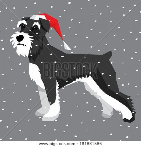 Vector polygon dog collection. Miniature Schnauzer dog in Christmas Santa hat.
