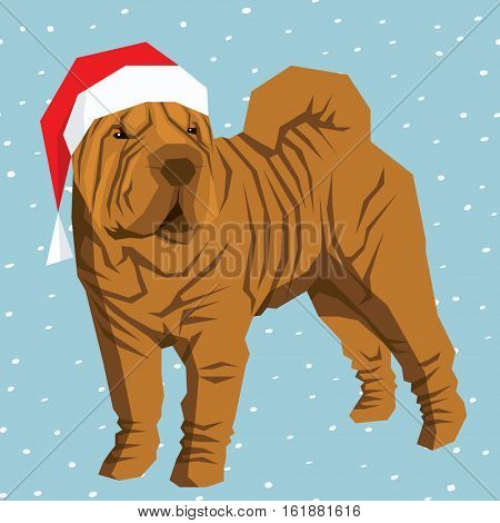 Vector polygon dog collection. Shar Pei dog in Christmas Santa hat.