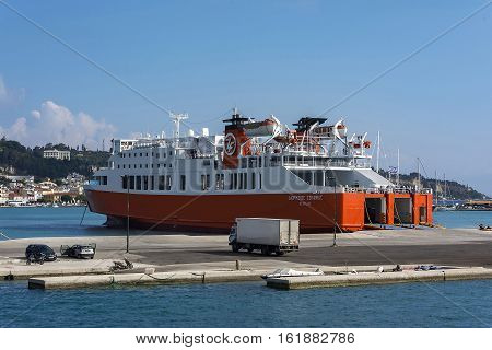 Zakynthos Island Greece - 09/06/2016: Sea ferry in the port of Zakynthos Sea ferry arrive at the port