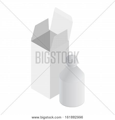 Isometric blank medicine bottle. Package of drugs or medication. Isolated on white background. Isometric box and bottle. Package of drugs with package, box. Medicine and vitamins, examples and templates