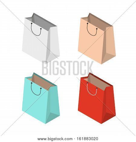 Isometric shopping bags concept design vector illustration, shopping bags isolated on white background, 3d paper bag, collection of four colorful isometric bags, template for shopping bag