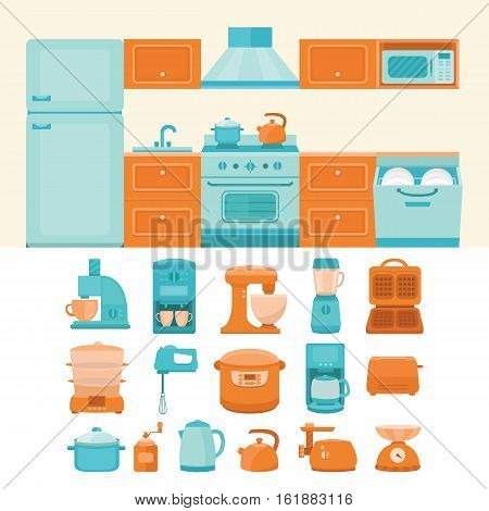 Illustration of a kitchen with appliances. Collection of vector elements kitchen appliances: refrigerator, stove, microwave, dishwasher, coffee machine, blender, slow cooker, toaster, electric kettle.