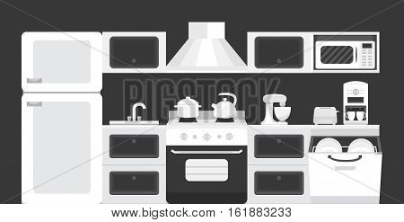 Illustration of a kitchen with appliances. Black white color kitchen interior. Collection of vector elements: refrigerator, stove, microwave, dishwasher, coffee machine, blender, toaster.