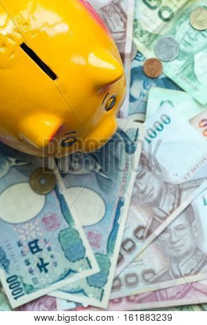 Piggy bank on banknote background Saving for retirement Saving for education Saving for security Saving for stability