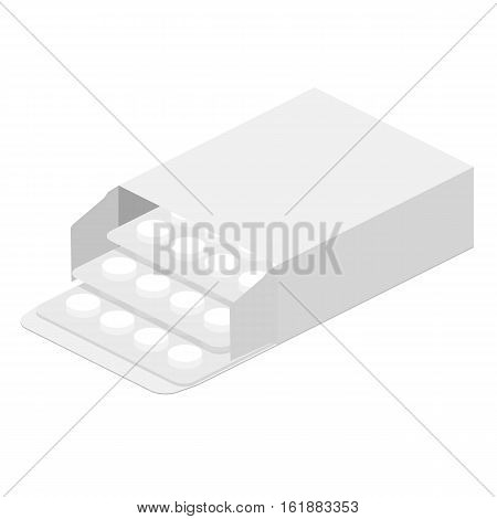 White medicine open packing with put forward pills on white background