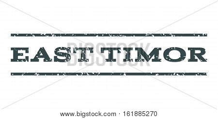 East Timor watermark stamp. Text tag between horizontal parallel lines with grunge design style. Rubber seal stamp with scratched texture. Vector soft blue color ink imprint on a white background.