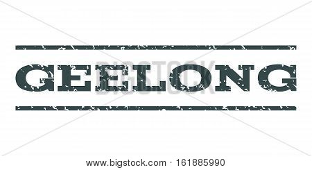 Geelong watermark stamp. Text tag between horizontal parallel lines with grunge design style. Rubber seal stamp with unclean texture. Vector soft blue color ink imprint on a white background.