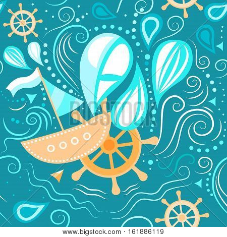Vector seamless pattern marine life with boat, helm and waves. Underwater world. The journey by sea. Template for background, print, banner, label, poster, fabric, packaging. Flat design.