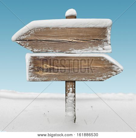 Wooden Direction Sign With Snow And Sky Bg. Two_arrows-opposite_directions