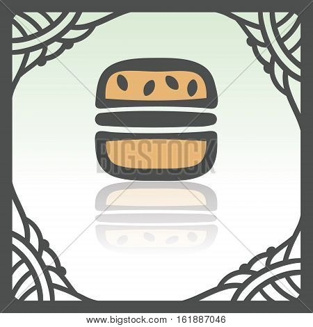 Vector outline hamburger fast food icon in hand drawn frame. Elements for mobile concepts and web apps. Modern infographic logo and pictogram.