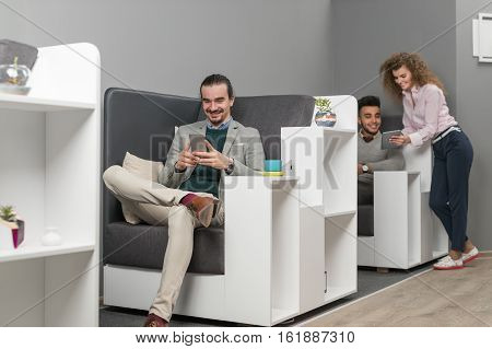 Business Man Using Cell Smart Phone Coworkers Businesspeople Group In Coworking Center Mix Race People Working Modern Office