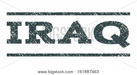 Iraq watermark stamp. Text caption between horizontal parallel lines with grunge design style. Rubber seal stamp with dust texture. Vector soft blue color ink imprint on a white background.