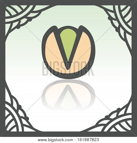 Vector outline pistachio food icon in hand drawn frame. Elements for mobile concepts and web apps. Modern infographic logo and pictogram.