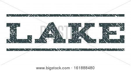 Lake watermark stamp. Text tag between horizontal parallel lines with grunge design style. Rubber seal stamp with dirty texture. Vector soft blue color ink imprint on a white background.