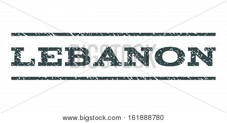 Lebanon watermark stamp. Text tag between horizontal parallel lines with grunge design style. Rubber seal stamp with scratched texture. Vector soft blue color ink imprint on a white background.