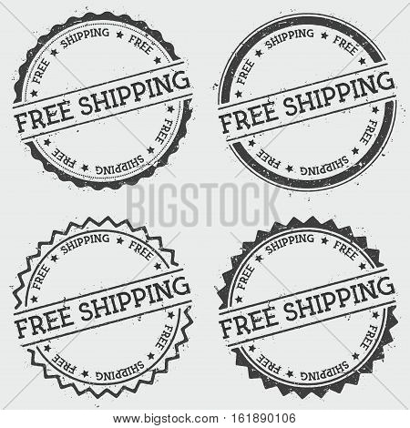 Free Shipping Insignia Stamp Isolated On White Background. Grunge Round Hipster Seal With Text, Ink