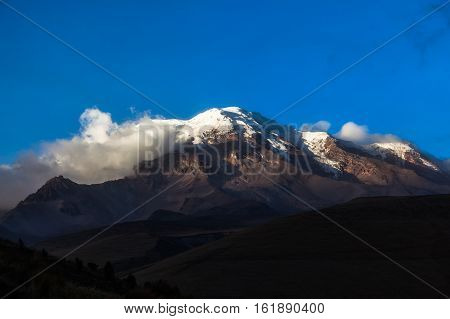 Extinct volcano Chimborazo at sunset the highest of Ecuador