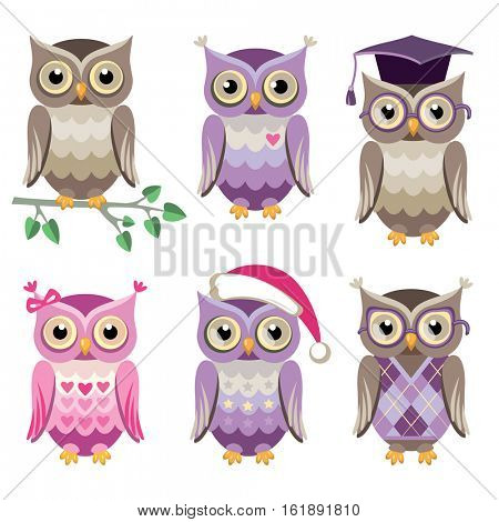 Set of vector decorative owls
