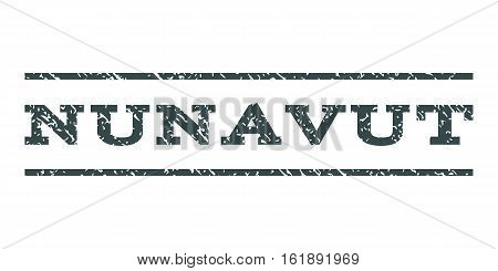 Nunavut watermark stamp. Text tag between horizontal parallel lines with grunge design style. Rubber seal stamp with dust texture. Vector soft blue color ink imprint on a white background.