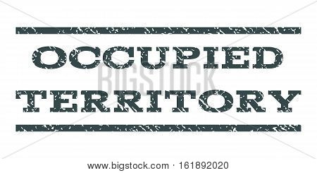 Occupied Territory watermark stamp. Text tag between horizontal parallel lines with grunge design style. Rubber seal stamp with dirty texture. Vector soft blue color ink imprint on a white background.