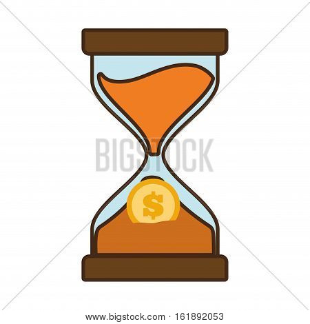 cartoon clock glass sand business clock money vector illustration eps 10