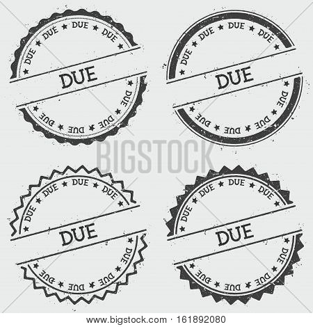 Due Insignia Stamp Isolated On White Background. Grunge Round Hipster Seal With Text, Ink Texture An
