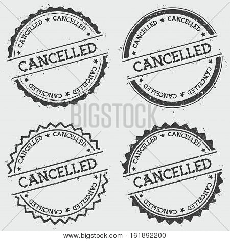 Cancelled Insignia Stamp Isolated On White Background. Grunge Round Hipster Seal With Text, Ink Text