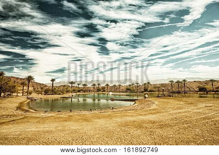The Timna Lake - Oasis in Timna park Israel (HDR image with black gold filter)