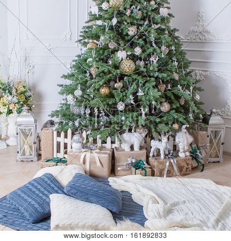 Beautifully Decorated Christmas Tree With Presents.