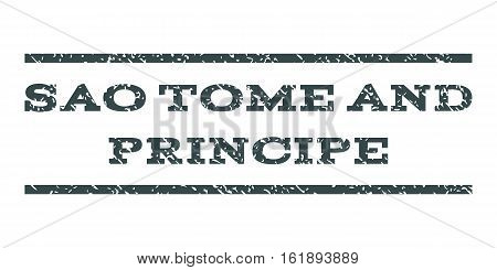 Sao Tome and Principe watermark stamp. Text caption between horizontal parallel lines with grunge design style. Rubber seal stamp with dust texture.