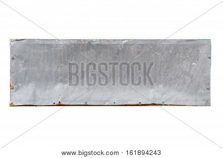 old steel plate isolated on white background with clipping path