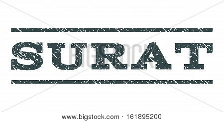 Surat watermark stamp. Text caption between horizontal parallel lines with grunge design style. Rubber seal stamp with unclean texture. Vector soft blue color ink imprint on a white background.