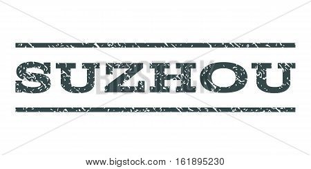 Suzhou watermark stamp. Text tag between horizontal parallel lines with grunge design style. Rubber seal stamp with dust texture. Vector soft blue color ink imprint on a white background.