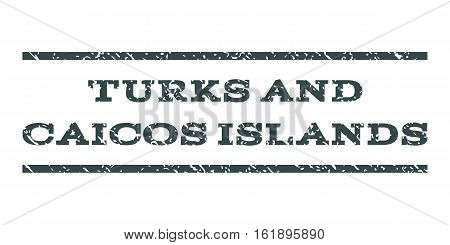 Turks and Caicos Islands watermark stamp. Text tag between horizontal parallel lines with grunge design style. Rubber seal stamp with dust texture.