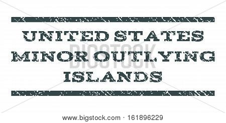 United States Minor Outlying Islands watermark stamp. Text caption between horizontal parallel lines with grunge design style. Rubber seal stamp with dust texture.