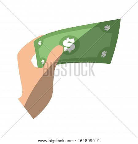hand hold mobey bill dollar flat icon vector illustration eps 10