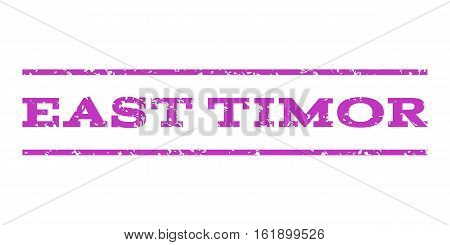 East Timor watermark stamp. Text tag between horizontal parallel lines with grunge design style. Rubber seal stamp with scratched texture. Vector violet color ink imprint on a white background.
