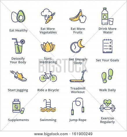 This set contains healthy lifestyle icons that can be used for designing and developing websites, as well as printed materials and presentations.