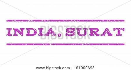 India, Surat watermark stamp. Text tag between horizontal parallel lines with grunge design style. Rubber seal stamp with dirty texture. Vector violet color ink imprint on a white background.