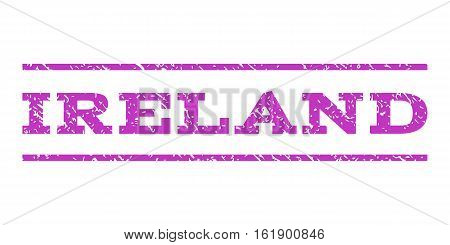 Ireland watermark stamp. Text caption between horizontal parallel lines with grunge design style. Rubber seal stamp with scratched texture. Vector violet color ink imprint on a white background.