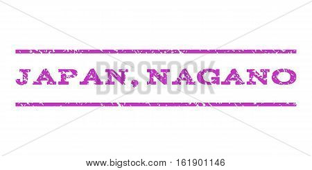 Japan, Nagano watermark stamp. Text tag between horizontal parallel lines with grunge design style. Rubber seal stamp with unclean texture. Vector violet color ink imprint on a white background.