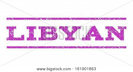 Libyan watermark stamp. Text caption between horizontal parallel lines with grunge design style. Rubber seal stamp with scratched texture. Vector violet color ink imprint on a white background.