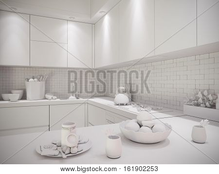 3d illustration of a townhouse interior design kitchen in a modern, minimalist style. The interior in black and white, without textures