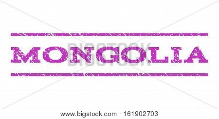 Mongolia watermark stamp. Text tag between horizontal parallel lines with grunge design style. Rubber seal stamp with scratched texture. Vector violet color ink imprint on a white background.