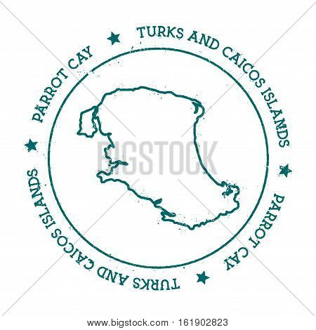 Parrot Cay Vector Map. Distressed Travel Stamp With Text Wrapped Around A Circle And Stars. Island S