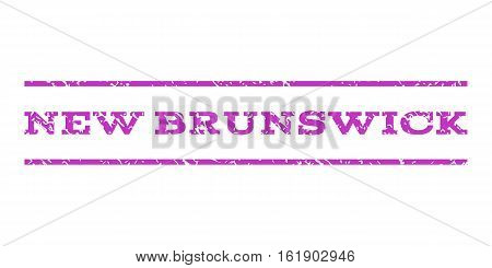 New Brunswick watermark stamp. Text caption between horizontal parallel lines with grunge design style. Rubber seal stamp with unclean texture. Vector violet color ink imprint on a white background.