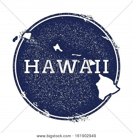 Hawaii Vector Map. Grunge Rubber Stamp With The Name And Map Of Island, Vector Illustration. Can Be