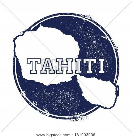 Tahiti Vector Map. Grunge Rubber Stamp With The Name And Map Of Island, Vector Illustration. Can Be