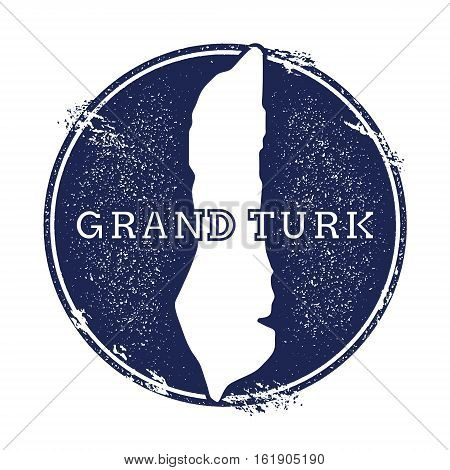 Grand Turk Island Vector Map. Grunge Rubber Stamp With The Name And Map Of Island, Vector Illustrati