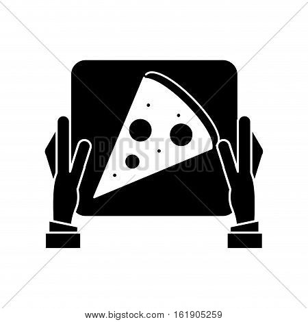 hand boy delivery box pizza pictogram vector illustration eps 10